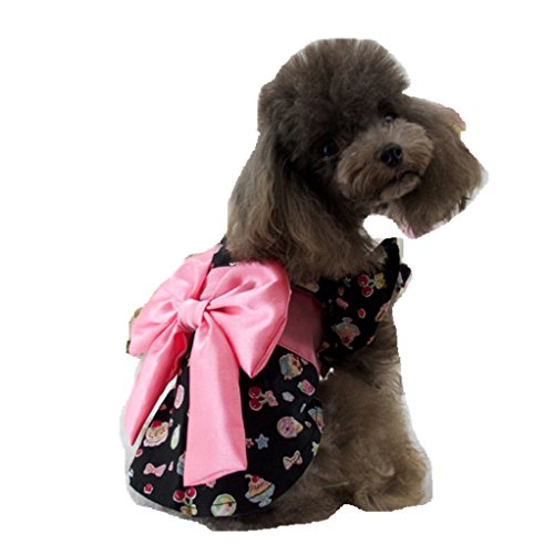 happinesssale Pet Costume for Dogs ice Cream Pattern Design Clothes (S, Black) -
