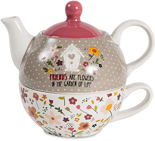 Pavilion - Friends Are Flowers In The Garden Of Life - Floral Tea For One 15 oz Teapot and 8 oz Teacup Set with Lid ()