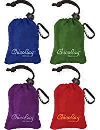Reusable Shopping Tote/Grocery Bag by ChicoBag - 4 Pack - Assortment (1 Blue,1 Green,1 Purple,1 Red)