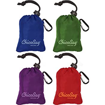 ChicoBag Original Reusable Shopping Tote / Grocery Bag (Variety 4 Pack - Blue, Green, Purple, and Red)