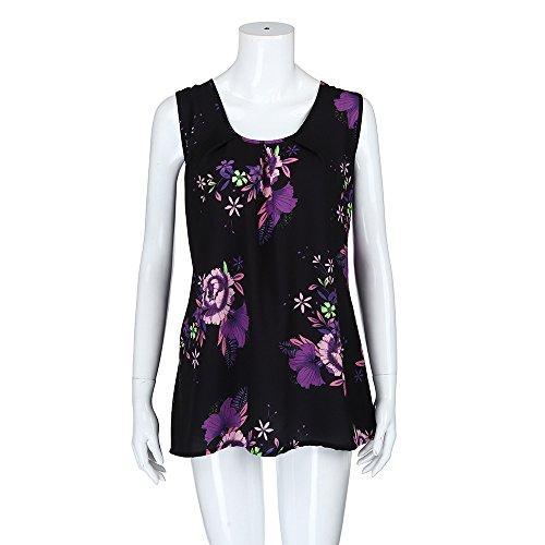 iTLOTL Women Plus Size Print Sleeveless Bandage Tank Vest Blouse Pullover Tops Shirt (US:16/CN:XXXXL, Z-Purple) by iTLOTL (Image #2)