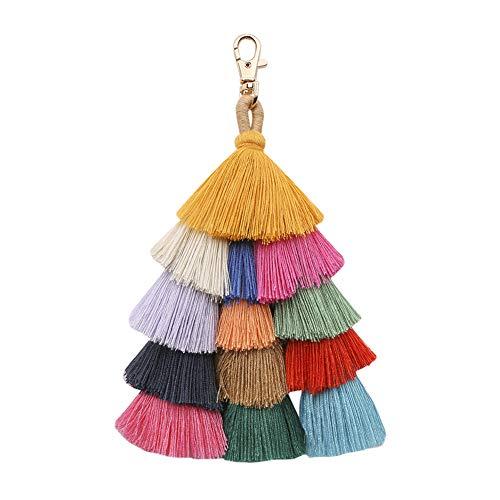 Molodo Colorful Boho Pom Pom Tassel Straw Bag Charm Fringe KeyChain Purse(colorful)