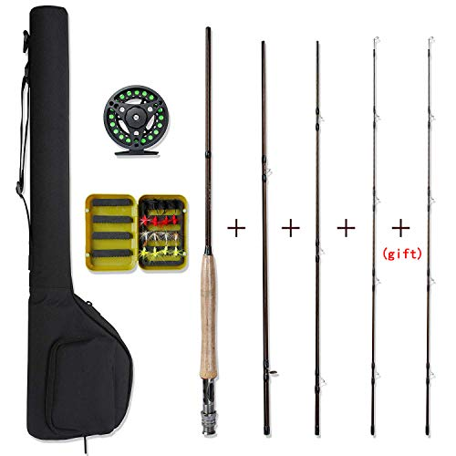 NetAngler Fly Fishing Rod and Reel Combo Including Lightweight Portable Fly Rod Aluminum Alloy Fly Reel Pre-Loaded with Lines and One More Rod Tip Especially for Starter