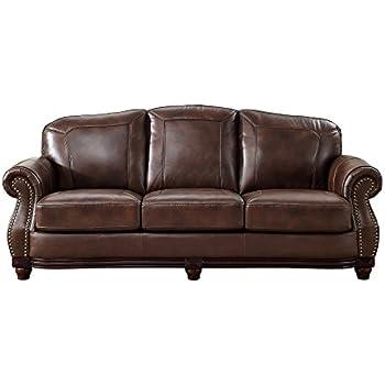 Amazon.com: Coja by Sofa4life Sentinel Leather Sofa, Brown ...