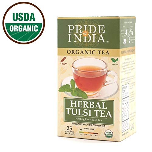 Pride Of India Organic Tulsi Herbal Tea, 25 Tea Bags, Decaf