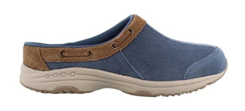 Travelport26 Mule, Blue/Taupe Suede, 8.5 E US (Easy Spirit Leather Clogs)