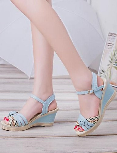 ShangYi Womens Shoes Fashion Color Block Hollow Out Wedge Heel Comfort Sandals Dress Blue