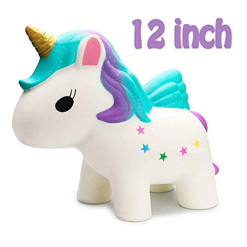 R.HORSE 12 Inch Jumbo Rainbow Unicorn Kawaii Cute Strawberry Cream Scented Squishies Slow Rising Kids Toys Doll Stress Relief Toy Hop Props, Decorative Props Large (Jumbo Rainbow Unicorn)