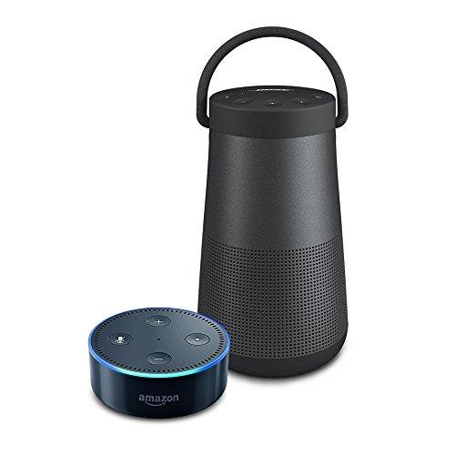 Echo Dot (2nd Generation) - Black + Bose SoundLink Revolve+ Bluetooth Speaker, Triple Black