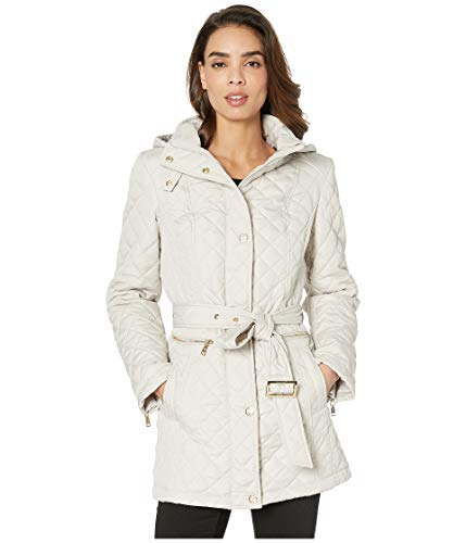 Vince Camuto Womens Quilted Belted Trench V19703 Beige SM (US 4-6)