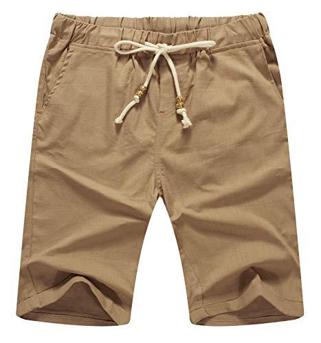 (Mr.Zhang Men's Linen Casual Classic Fit Short Summer Beach Shorts Dark Khaki-US 3XL)
