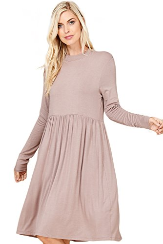 Annabelle Women's High-Neck Basic Solid Long Sleeve Pleated Tunic Tshirt Dress With Side Pocket Taupe Grey Small D5256 -