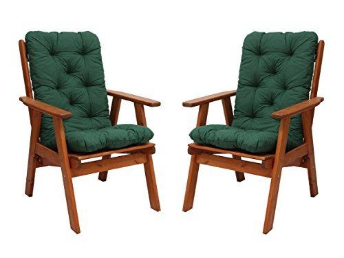 GARDENho.me 2er Set Sessel Varberg Braun Hochlehner Gartenstuhl mit Auflagen, grün