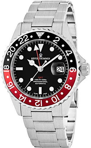 (Revue Thommen GMT Mens Stainless Steel Professional Automatic Watch - 42mm Analog Black Face with Luminous Hands, Magnified Date and Sapphire Crystal - Swiss Made 2nd Time Zone Watch 17572.2136)