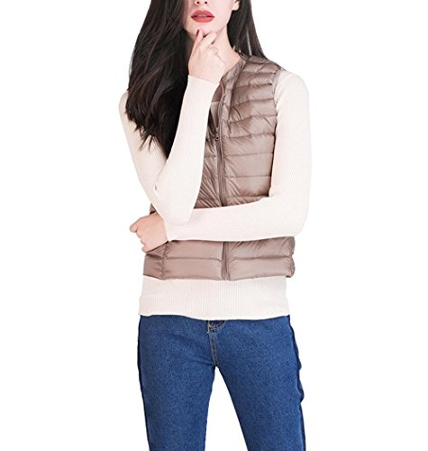 Packable Women's Vest Parka KHAKI Vest S Outdoor Puffer Jacket Light Leightweight Coat Filled Sleeveless Vest Ultra Puffer Down EqFfABq