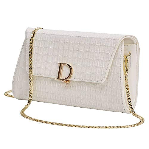 (Evening Handbag for Women, Wedding Bridal Clutch Purse - Leather Wallets, Prom Flap Bag with Chain (White) )