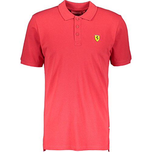 Ferrari Mens Red Classic Shield Polo Shirt w/Embroidered Scudetto on Chest (X-Large)