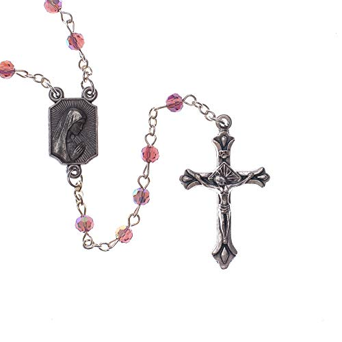 Dicksons Pink Girl Baby Blessings Silver Plated 4mm Bead First Rosary (A Cute Poem For A Cute Girl)