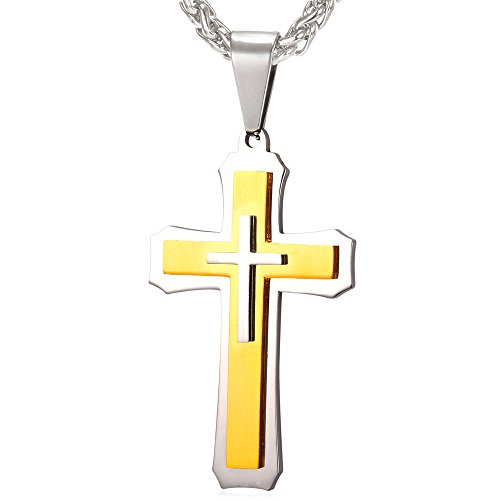 Men Necklace Religious Christian Jewelry with Stainless Chain Two Tone Titanium Steel & 18K Gold Plated Layering Cross (Men Two Tone Necklaces)