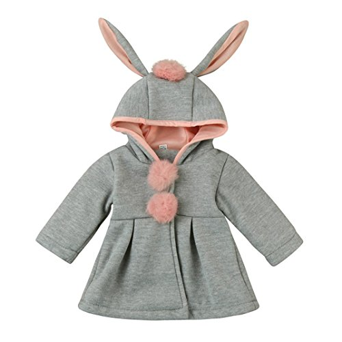 Kehen Baby Girl Autumn Winter Pom Pom Outerwear Rabbit Ears Hooded Warm Coat (6/12M, Gray)