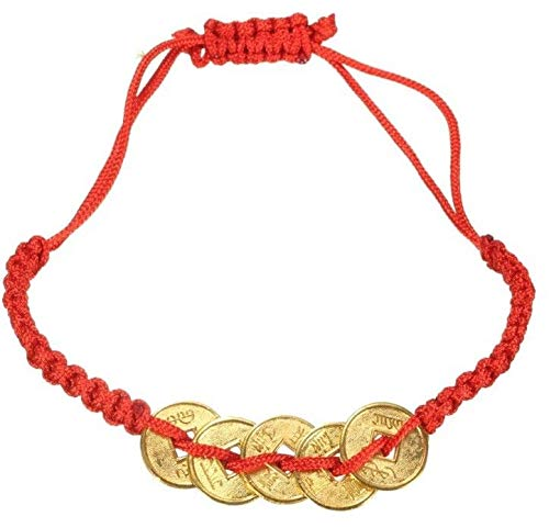 (EatingBiting(R) Feng Shui Red String Lucky Coin Charm Bracelet for Good Luck & Wealth Chinese Knot Lucky Coins Feng Shui Coins Fortune Coin)