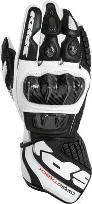 Spidi Sport S.R.L. Carbo Track Gloves , Size: Lg, Gender: Mens/Unisex, Distinct Name: Black/White, Primary Color: White, Apparel Material: Leather A134-011-L