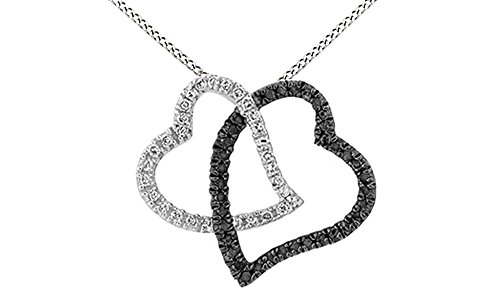 White & Black Natural Diamond Double Heart Pendant Necklace in 14k White Gold Over Sterling Silver (0.25 (0.25 Ct Double Heart)