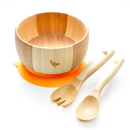 LaBoos Baby Kids Suction Bowl Spoon Fork, Infant Feeding, Baby Registry, Bamboo Bowl, Unisex. Baby Bowl Set + Baby Spoons Set. FDA Approved BPA Free, Stay Put Suction bowl,Orange