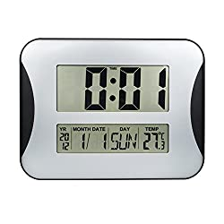 EWTTO 15 Oversized Digital Wall Clock, Home Decoration Wall Clock with Temperature and Calendar, Impaired Vision Digital Clocks with Extra Large Digits Display-Perfect for Seniors (Silver)