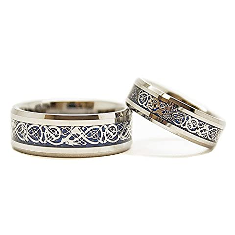 Matching 6mm & 8mm Tungsten Wedding Rings with Silver-colored Dragon Blue Inlay (See Listing for (Tungsten White Gold Ring)