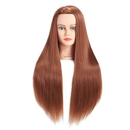 Hairginkgo 26-28 Super Long Cosmetology Mannequin Manikin Synthetic Fiber Training Head Doll Head with Clamp (Sugar Brown)