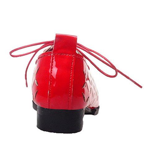 Femme Bas Unie Lacet à Verni Pointu Chaussures AalarDom Rouge Légeres Talon Couleur d7gwBxdq6