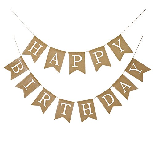 Fecedy Alphabet Happy Birthday Burlap Banner For Birthday Party Decorations (white alphabet)]()