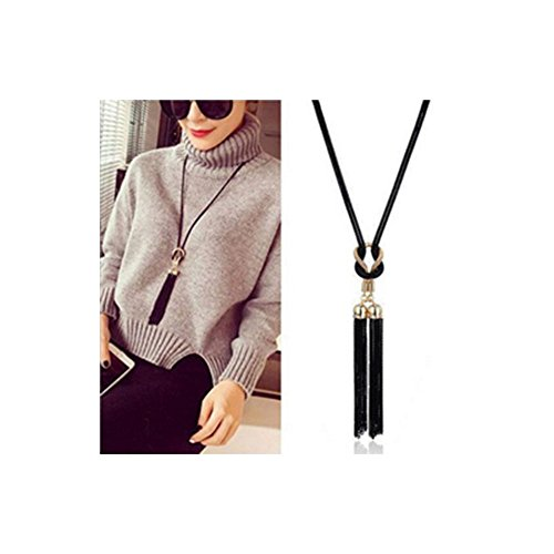 Cyntan Ladies Fashion Necklace Women Pendent Necklace Long Tassel Necklace (Black # 1)