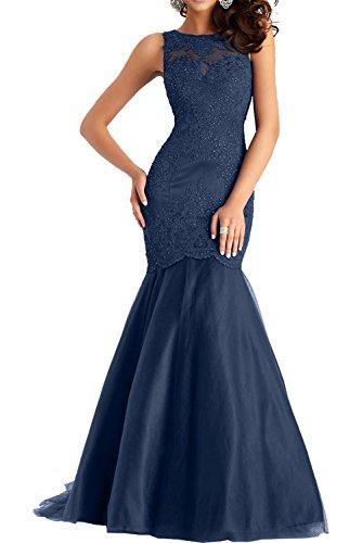 Abschlussballkleider Charmant Ballkleider Abendkleider Damen Spitze Schwarz Navy Kleider Blau Meerjungfrau Langes YPqYrB
