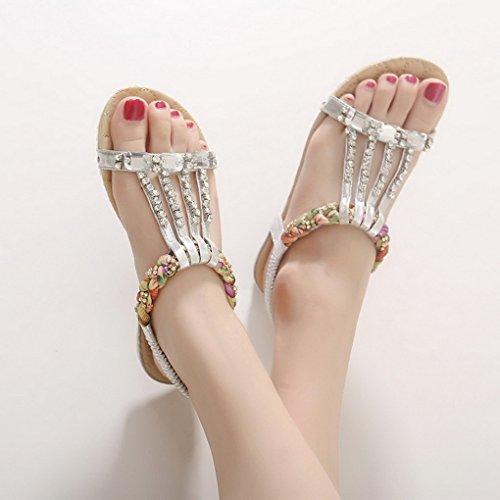 ACMEDE Women Flat Sandals Round Toe Rhinestone Beaded Elastic T-Strap Summer Boho Beach Flip Flops Shoes Thongs Silvery PDoer