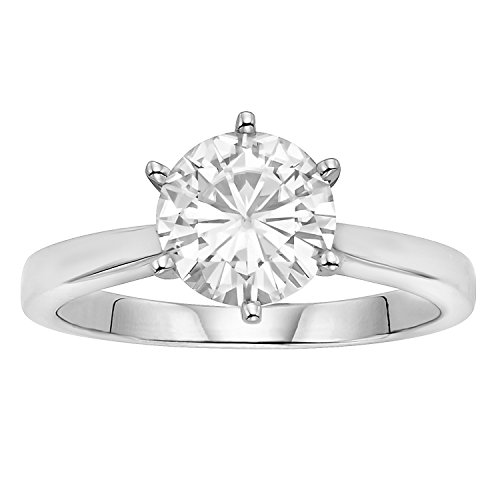 (Round Brilliant Cut 8.0mm Moissanite Solitaire Engagement Ring size 7, 1.90ct DEW by Charles & Colvard)