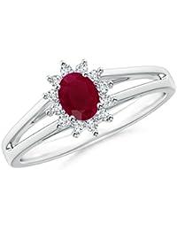 Angara July Birthstone Ruby Channel-Set Hoop Earrings in Rose Gold