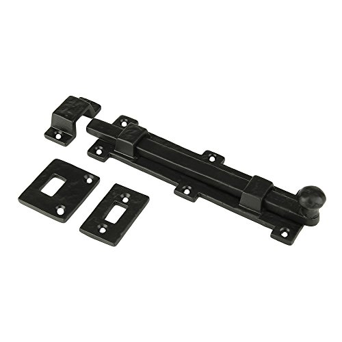 - Iron Surface Door Slide Bolt 8 x 2 Inches with 3 Gate Latch Black Powder Coat Finish