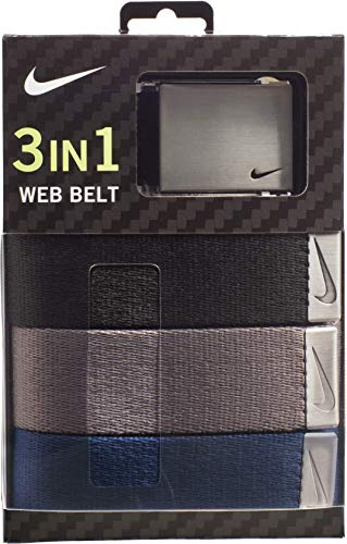 Nike Men's 3 Pack Golf Web Belt, Black/Grey/Navy, One Size (Nike Sb Belt)