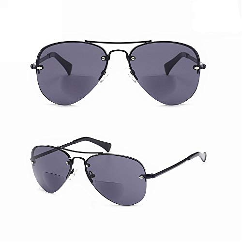 - Enjoy Reading in the Sun n Look Fashion! Viscare Men Women Aviator Bifocal Lightweight Sun Reading Readers Glasses Sunglasses W/case N Cloth +1.50 Grey - 30 Days Return Guarantee!