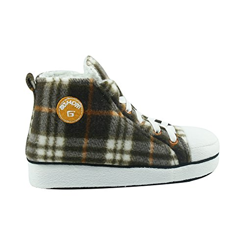 Gohom Mens High-Top Slippers House Boots Indoor Shoes Brown Lattice&white GMH9JOaE