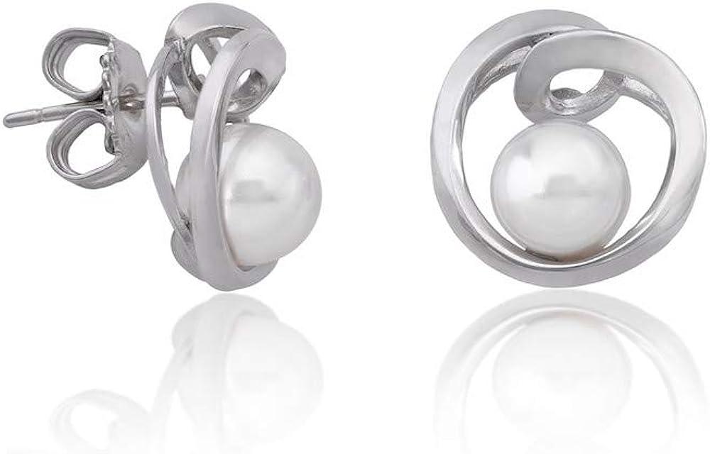 Majorica Duna 16499.01.2.000.010.1 - Pendientes en plata rodiada con perla.