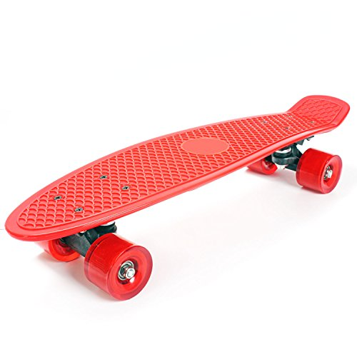 """Plastic Skateboard Penny Retro 22"""" Mini Street Cruiser - High Strength Skate Plastic Sun Board Deck Vintage Retro Style Surf with Fish Scale Grip Pattern, 60mm Smooth Polyurethane Wheels, Ultra Durable Trucks and Bearings (Red) by KiiSports®"""