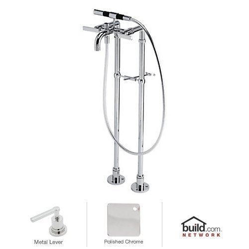 Rohl BA420L-APC Modern Floor Mount Exposed Tub Filler Faucet with Floor Legs & Hand, Polished Chrome ()