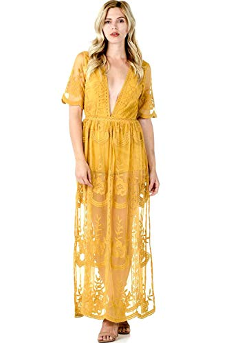 Sohcue Long Lace V Neck Embroidered Maxi Dress, Yellow, Large