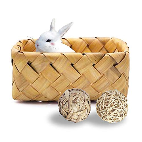 Rabbit Shelter Bunny Hay Bed Wicker Rattan Chew Balls Nesting Box Rat Exercise Ball Activity Toys Grass Hideout Woven Mat for Small Pets Guinea Pigs Chinchillas Mice Ferrets Squirrels and Gerbils ()