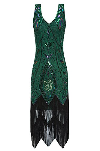 Metme Women's 1920s Vintage Flapper Fringe Beaded Great Gatsby Party Dress (S, ()