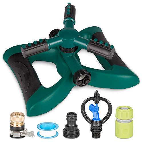 Kupton Garden Sprinkler System, 360° Rotating Adjustable Sprinkler Head, 3-arm Sprayer Lawn Sprinkler Irrigation System, Large Area Covering Up to 3600 Square Feet