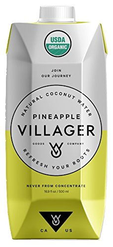 Villager Coconut Water 100% Pure, USDA CERTIFIED ORGANIC, Non-GMO, Gluten Free, Vitamin-Rich Beverage – Refreshing & Smooth (Pineapple, 16.9 oz)